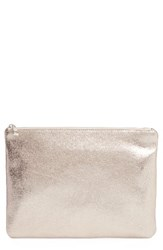 Bp. Faux Leather Large Zip Pouch Metallic Silver