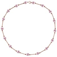 A B Davis 9Ct Gold Freshwater Pearl Bar Necklace Rose Gold Pink