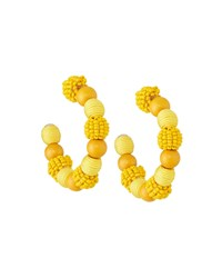 Lydell Nyc Mixed Bead Hoop Earrings Yellow