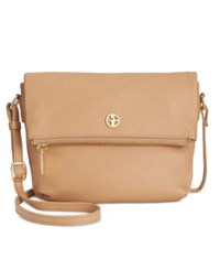 Giani Bernini Pebble Leather Zipper Mini Flap Crossbody Spice