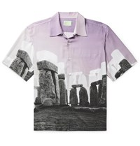 Aries Jeremy Deller Camp Collar Printed Woven Shirt Purple