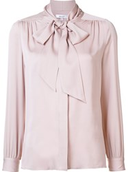 Milly Pussy Bow Neck Blouse Pink And Purple