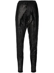 Laneus Sequin Embellished Cropped Trousers Black