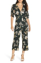 Knot Sisters Ruby Floral Print Jumpsuit Emerald Lily