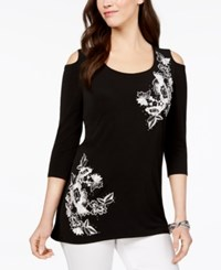 Jm Collection Cold Shoulder Applique Tunic Created For Macy's Cascading Beauty