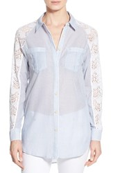 Women's Wit And Wisdom Stripe Shirt With Crochet Lace Nordstrom Exclusive