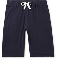Ermenegildo Zegna Fleece Back Stretch Cotton Jersey Shorts Navy