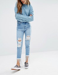 Liquor And Poker Slim Mom Jeans With Sequin Trim Light Wash Blue