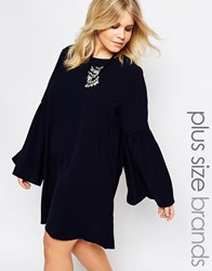 Alice And You Tie Back Dress With Frill Sleeves Navy