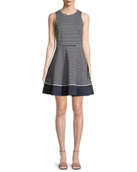 Kate Spade Sleeveless Stripe Ponte Mini Dress Blue White