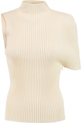 J.W.Anderson One Shouldered Ribbed Knit Top White
