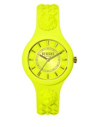 Versus By Versace Fire Island Goldtone Yellow Silicone Strap Watch