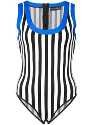David Koma Contrast Trim Striped Body Black