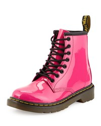 Dr. Martens Delaney Patent Leather Military Boot Hot Pink Youth