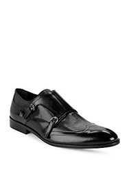 Galliano Textured Wingtip Double Monk Shoes Black