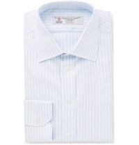 Turnbull And Asser Blue Slim Fit Striped Cotton Twill Shirt Light Blue
