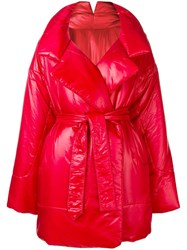 Norma Kamali Quilted Padded Coat Red