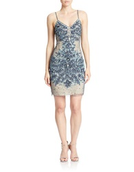 Basix Ii Beaded V Neck Cocktail Dress Navy Nude