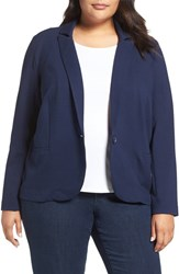 Olivia Moon Plus Size Women's Ponte Blazer Navy