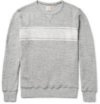 Faherty Striped Cotton Terry Sweatshirt Stone