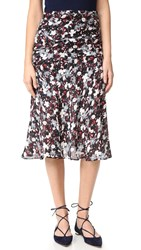 Veronica Beard Madison Flared Midi Skirt Black Navy Red White