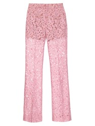 Gucci Partial Lined Flared Lace Trousers Pink