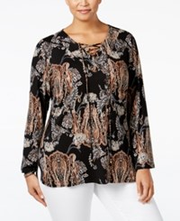 Ny Collection Plus Size Printed Lace Up Peasant Blouse Brown Reason