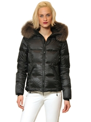 Jet Set Cayua Laminated Down Jacket W Fur Edging Charcoal