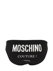 Moschino Logo Printed Tech Swim Briefs Black