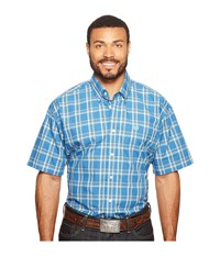 Cinch Short Sleeve Plain Weave Plaid Blue Men's Clothing