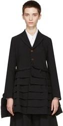 Comme Des Garcons Navy Ruffle Bottom Coat
