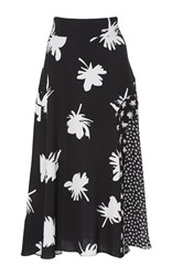 Prabal Gurung Printed Flared Skirt Black White