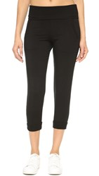 Beyond Yoga Modal Baby Terry Fold Over Ribbed Sweatpants Black