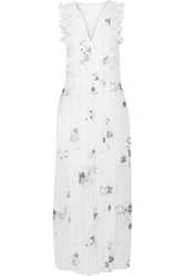 See By Chloe Ruffle Trimmed Printed Fil Coupe Maxi Dress Off White
