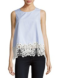 Saks Fifth Avenue Red Lace Trim Sleeveless Top Blue Stripe