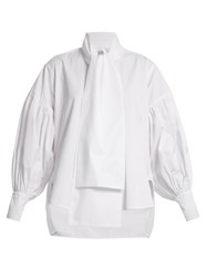 Hillier Bartley Balloon Sleeved Silk Blend Shirt White