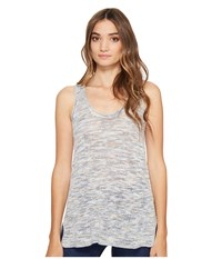 Michael Stars Linen Blend Scoop Neck Tank Top Blue Marl Women's Sleeveless