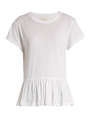 The Great Ruffle Cotton T Shirt White