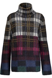 Suno Plaid Mohair Blend Turtleneck Sweater Multi
