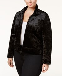Rachel Roy Trendy Plus Size Velvet Bomber Jacket Black