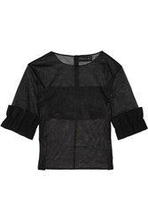 Paskal Ruffled Bonded Stretch Crepe Trimmed Organza Top Black