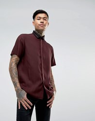 Asos Regular Fit Shirt With Metallic Yarn Rib Collar Burgundy Green