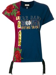 Night Market Roses Embroidered T Shirt Blue