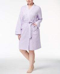 Charter Club Plus Size Short Knit Robe Created For Macy's Light Amethyst