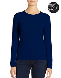 Lord And Taylor Petite Cashmere Crew Neck Sweater Evening Blue