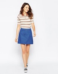 Asos Denim Aline Skirt In Mid Wash Blue Midwashblue