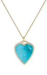 Jennifer Meyer Women's White Diamond And Turquoise Heart Pendant Necklac Colorless
