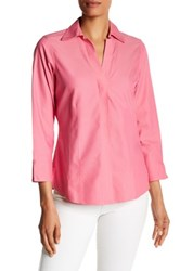 Foxcroft Long Sleeve Solid Fitted Blouse Pink