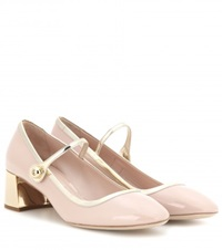 Miu Miu Patent Leather Mary Jane Pumps Beige
