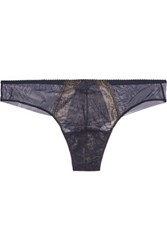 Cosabella Cleope Low Rise Metallic Lace Paneled Tulle Thong Storm Blue